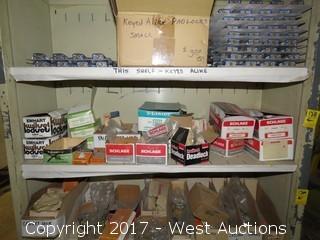 Shelf of (16) Boxes of Various Lock Hardware
