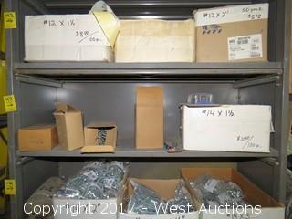 Shelf of (6) Boxes of Various Hardware: Power Bit Sets, Brass Hooks, Gate Hooks