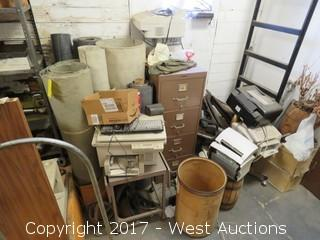 Bulk Lot: File Cabinet, Mulitiple Printers/Fax Machines, Small Metal Table, (6) Rolls Various Vapor Barrie and More