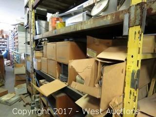 Shelf of Boxes w/ Tubing, Bruning Drafting Machine, Couplings, Brackets and More
