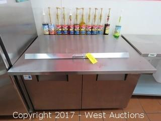 Lot #0109 True QA 48 18M B Portable 2 Door Refrigerated Food Prep Station