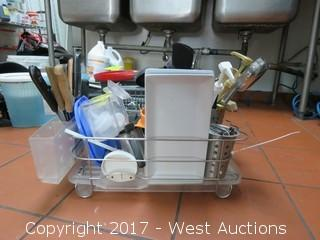 Dish Drying Rack with Knives, Utensils and Dishware