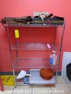4' Metro Rack with Three Shelves and Contents