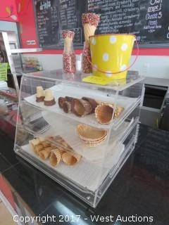 Plexiglass Counter Display Case with Three Trays