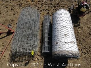 (3) Rolls of 1' Wire Fence