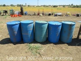 (5) 200 Gallon Plastic Barrels