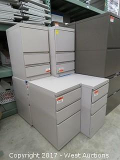 (6) 3 Drawer Steel File Cabinets