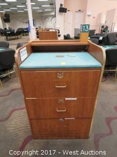 Wood Podium with 3 Lockable Drawers