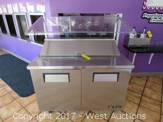 True 2-Door Refrigerated Food Prep Table with Sneeze Guard