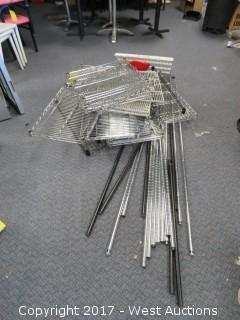Assorted Stainless and Epoxy Covered Wire Shelving Racks