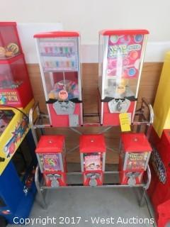 (5) Unit Toy and Candy Vending Machine with Rack