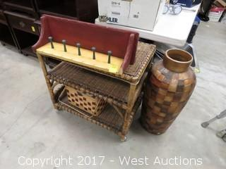 Wicker Table, Tall Vase and Carved Wood Shelf