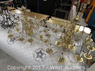 (2) 18 Light Brass Chandeliers