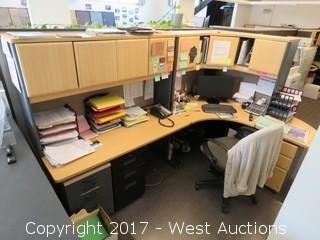 Full Cubical Desk with Computer and Assorted Contents