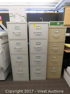 (3) 4 Door File Cabinets