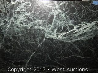 "(1) Leray Polished Green Marble Slab 76""x65"""