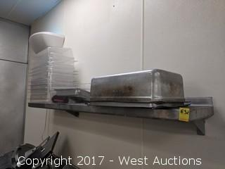 6' x 1' Stainless Steel Shelf and Contents