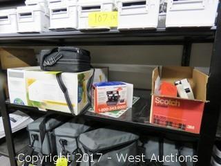 Contents of Shelf: Spectra System SE Polaroid, Scotch EA200 Labeler, Plus More