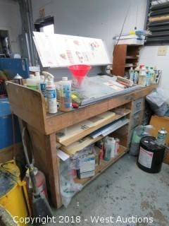 Portable Work Draft Bench with Art Station, Tools, Hardware