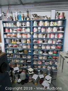 (2) Metal Shelf Organizers with Printing Inks and Solutions