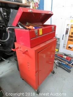 (1) Tool Cart, (1) Toolbox, Hammers, Ratchet Bits, Caulking Guns and Hardware