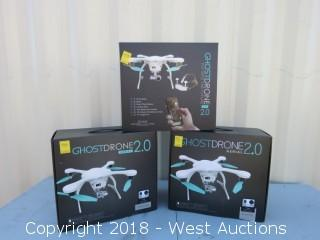 (3) White Ghostdrones 2.0 Aerial