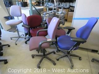 (6) Red/Purple Office Chairs