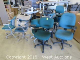 (10) Green Office Chairs