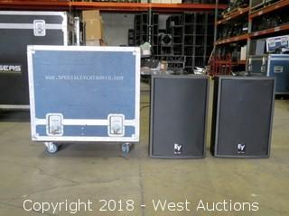 (2) Electro Voice SXA250 Powered Speakers with Dual Road Case