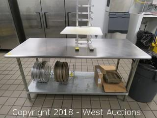 Stainless Steel Prep Table with Undershelf 6'x2.5'