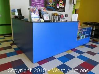 Front Counter and Display Case with Contents of Toys, Supplies