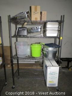 Metro Rack 6'x4'x1.5'  with Trays, Bins, Pots, Toaster Oven