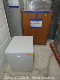 (2) Wooden cabinets