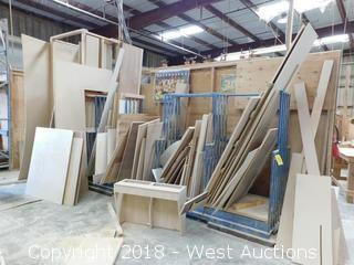 Heavy Stationary Lumber Rack and Contents