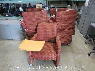 (5) Common Area Chairs with Swiveling Arm Tablets