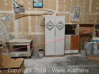 Bulk Lot; Portable Table, Wood Cabinet, Assorted Parts