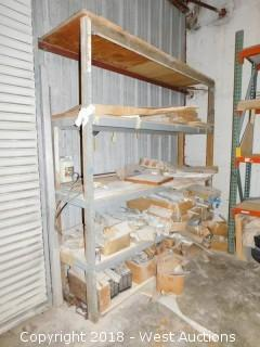 (1) Section of 8' Tall Pallet Rack Full of Cabinet Hardware