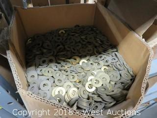(8+) Boxes of Brass Flat Washers and Flat Slotted Machine Screws
