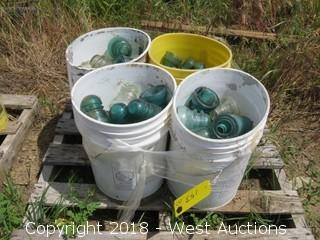 (4) 5-Gallon Buckets of Glass Insulators