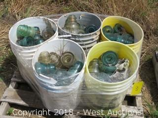 (5) 5-Gallon Buckets Of Glass Insulators