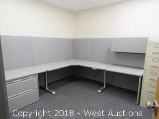 Bulk Lot; Cubicle Panels, Workrite Ergonomic Hydraulic Desk, Filling Cabinet and Hanging Storage Bin