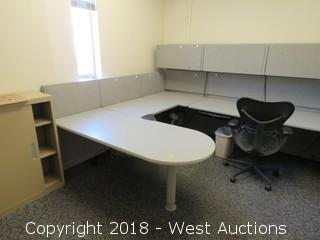 Bulk Lot; Desk, Storage Cabinet, Cubicle Panels and Chair