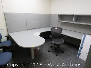 Bulk Lot; Desk, Chairs, Cubicle Panels and Hanging Storage Cabinets