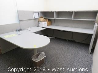 Bulk Lot; Cubicle Panels, Desk, Hanging Storage cabinets and Cork Board