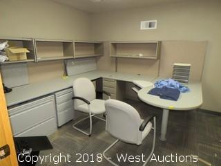 Bulk Lot; Cubicle Workstation, Desk, Chairs, Ergotron Sit-Stand Mount and File Cabinets