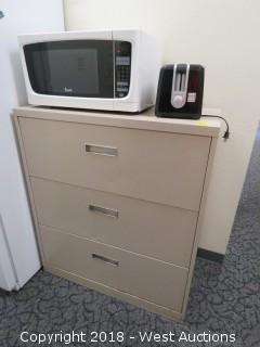Break Area: Microwave, Microwave Oven, (2) Toasters, File Cabiet