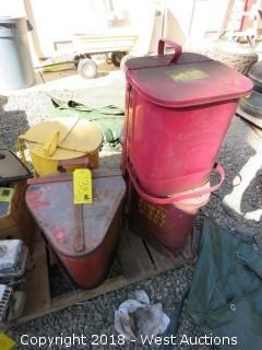 (5) Oily Waste Cans 6-Gallon Galvanized Steel