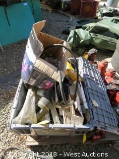 Bin of Assorted Tools and Car Parts - Torches, Hand Brake, AC Head Unit, Jumper Cables, Mirrors