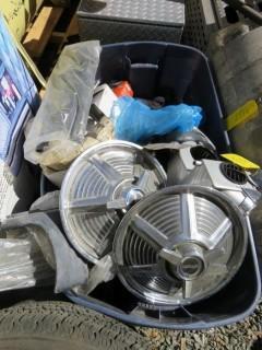 Bin of Assorted Mustang Car Parts