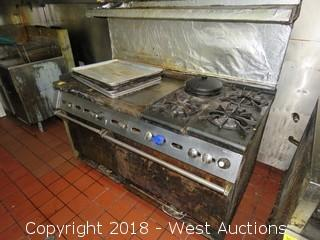 "4 Burner Gas Stove With 34"" x 23"" Griddle and 2 Ovens"